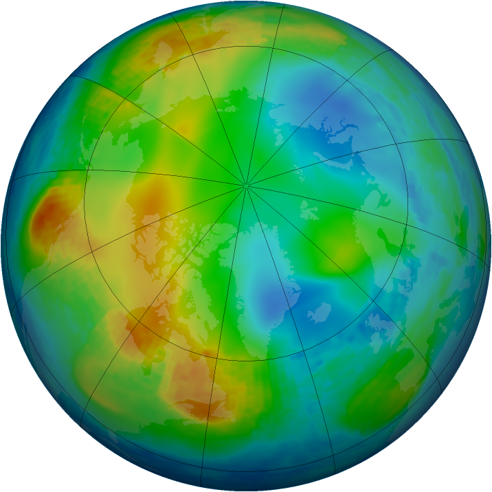Arctic ozone map for 05 December 2003