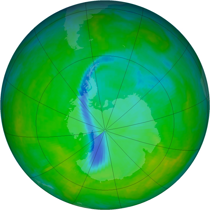 Antarctic ozone map for 05 December 2003