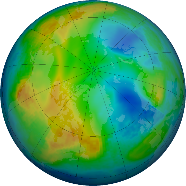 Arctic ozone map for 06 December 2003