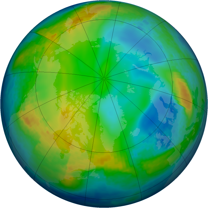 Arctic ozone map for 07 December 2003