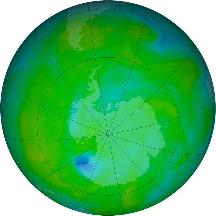 Antarctic ozone map for 10 December 2003
