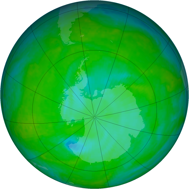 Antarctic ozone map for 11 December 2003
