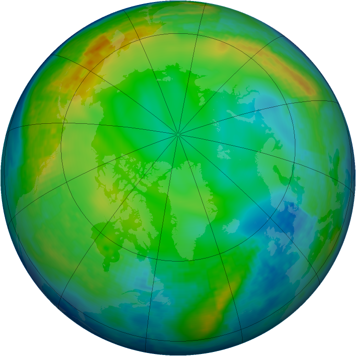 Arctic ozone map for 12 December 2003