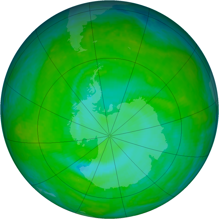Antarctic ozone map for 12 December 2003