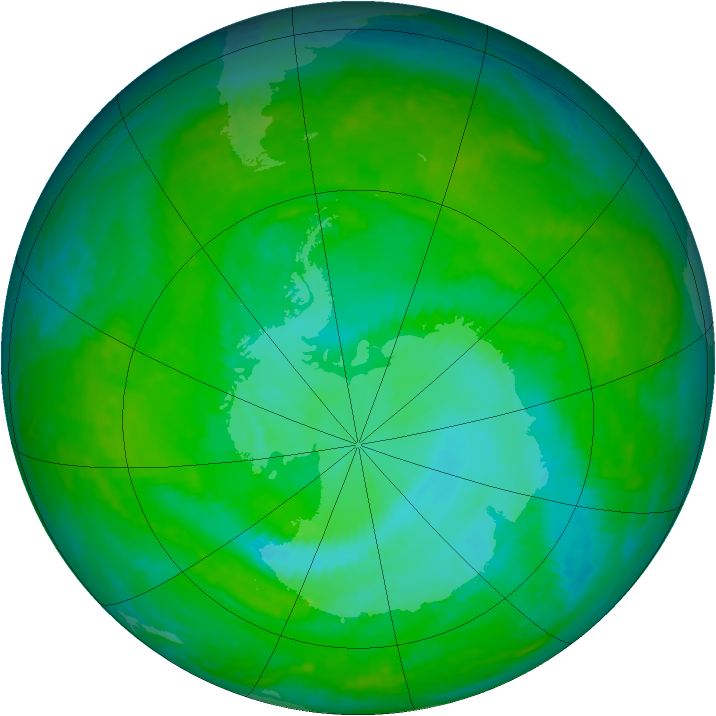 Antarctic ozone map for 13 December 2003