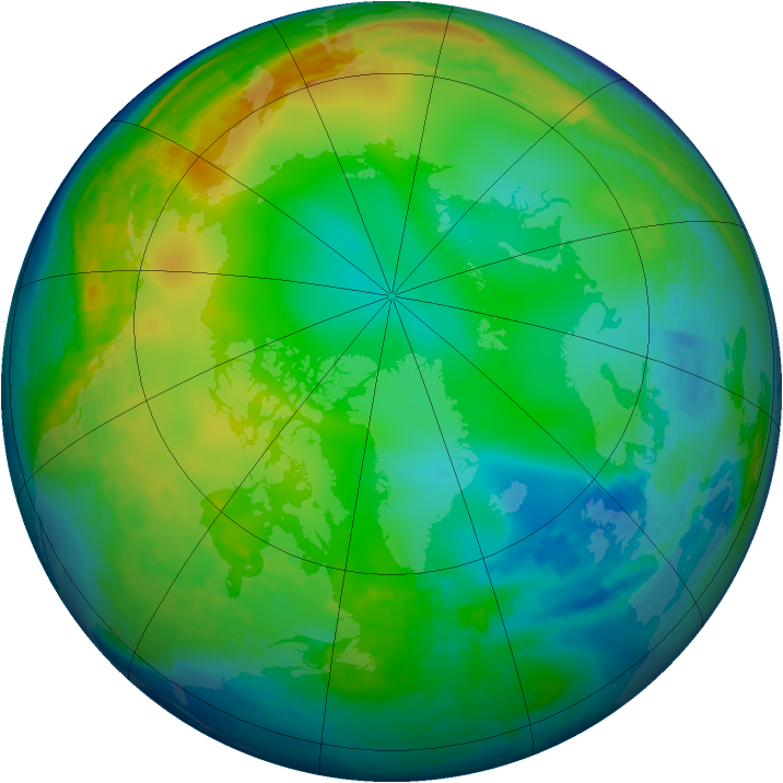Arctic ozone map for 14 December 2003