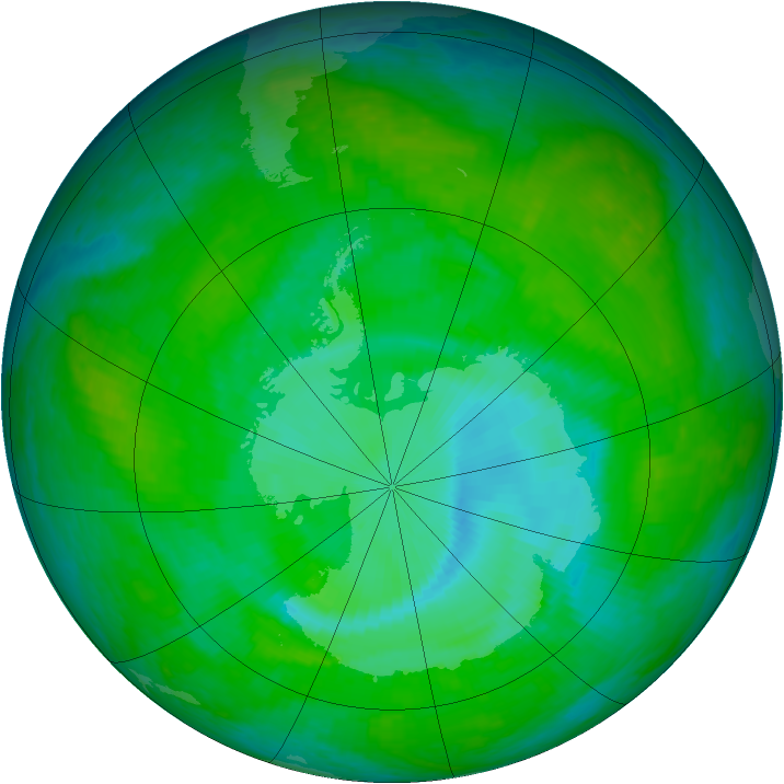 Antarctic ozone map for 15 December 2003