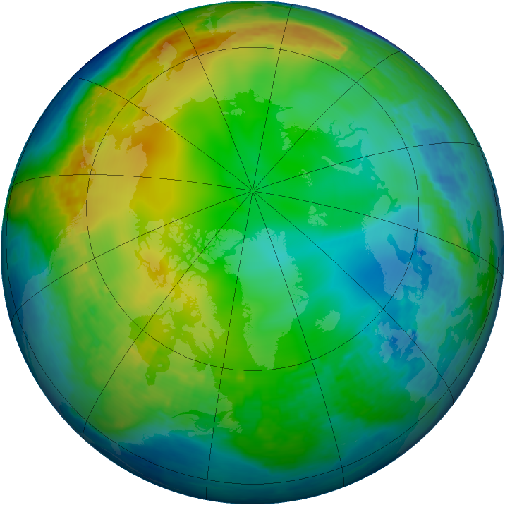Arctic ozone map for 17 December 2003