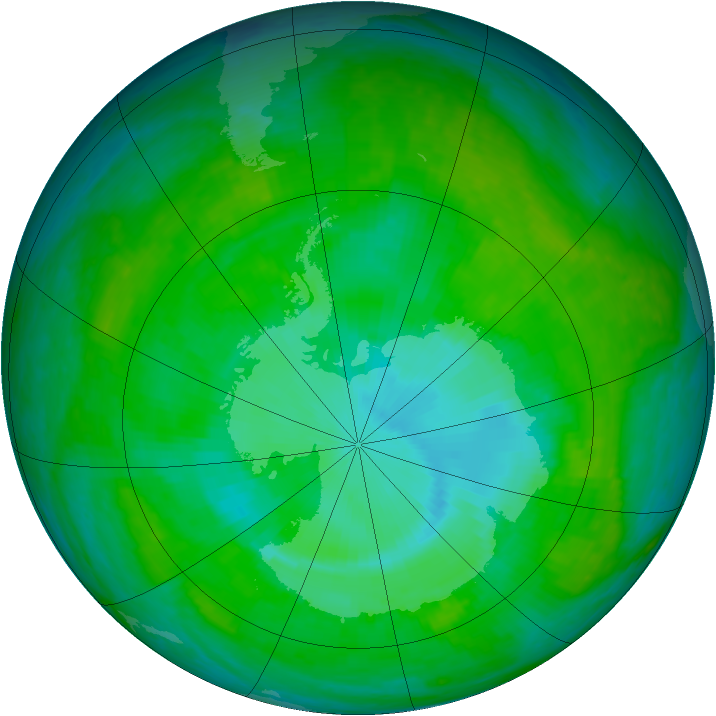 Antarctic ozone map for 17 December 2003