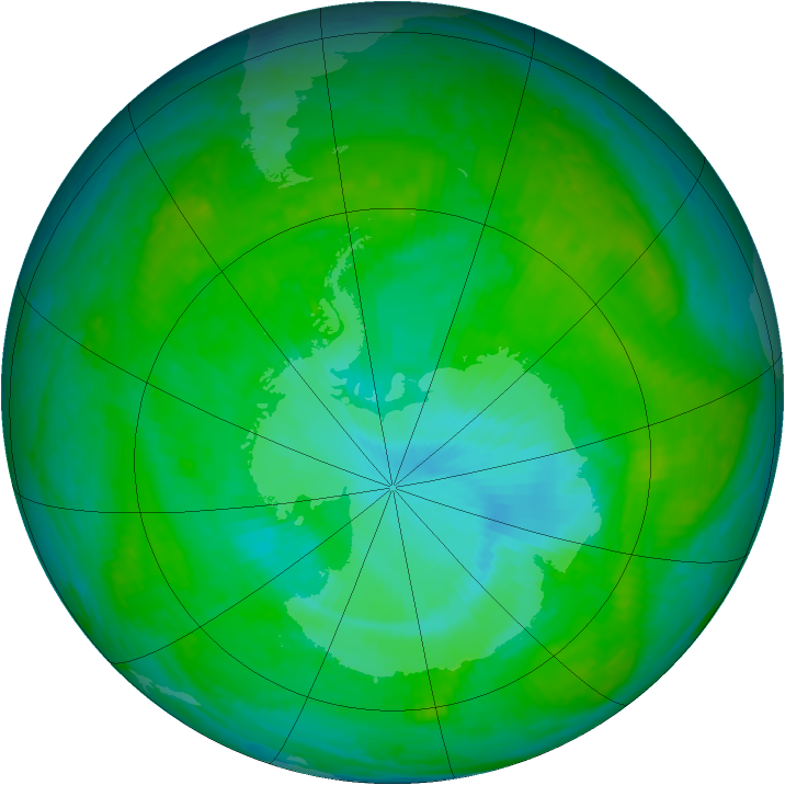 Antarctic ozone map for 18 December 2003