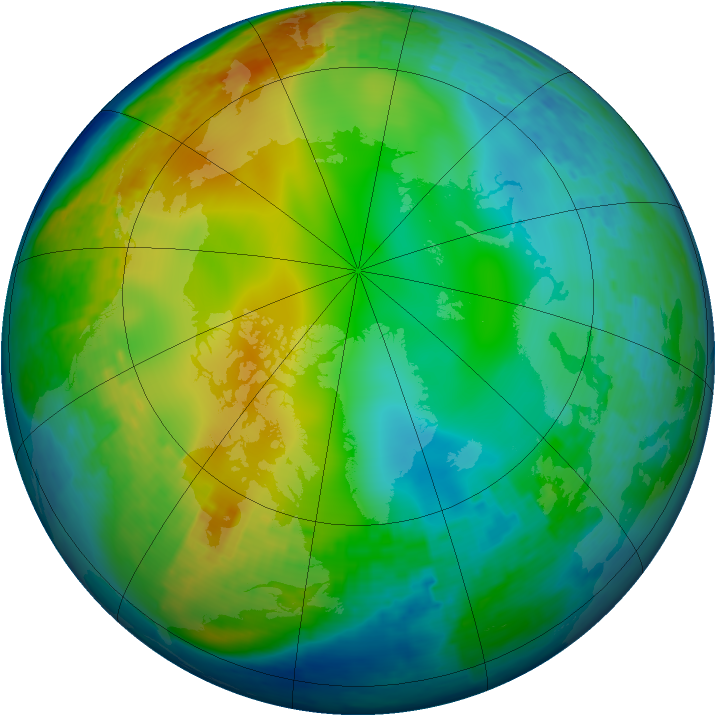 Arctic ozone map for 20 December 2003