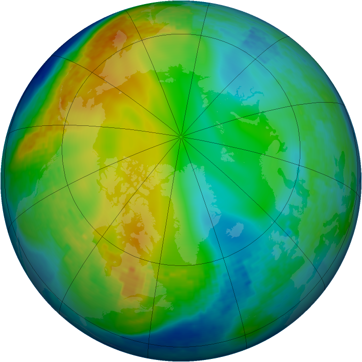 Arctic ozone map for 21 December 2003