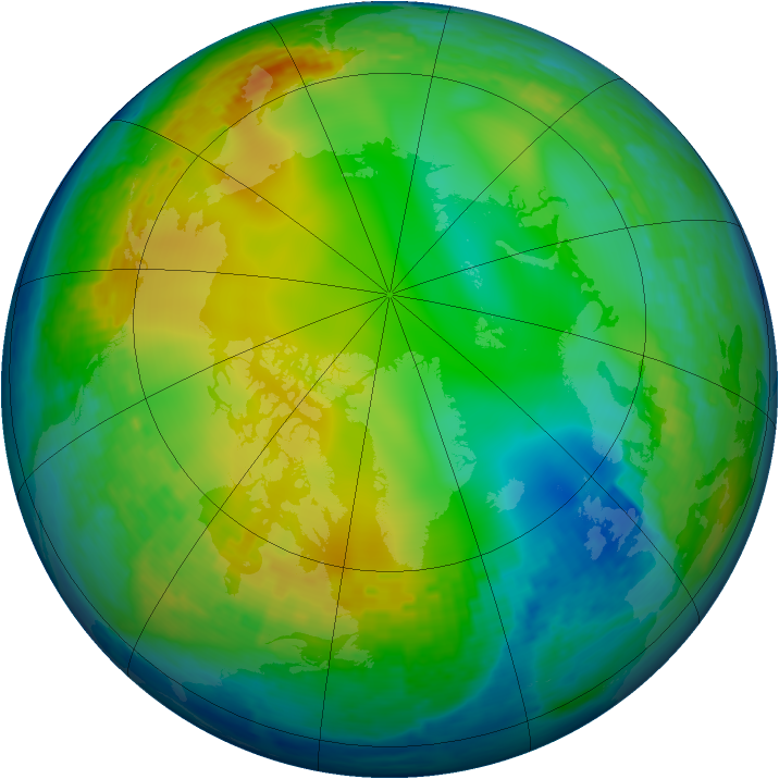 Arctic ozone map for 23 December 2003