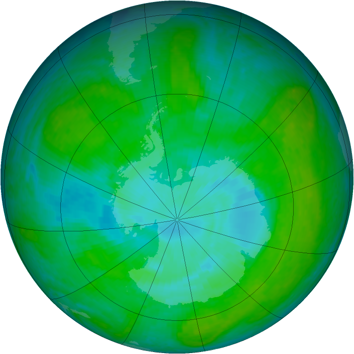 Antarctic ozone map for 23 December 2003