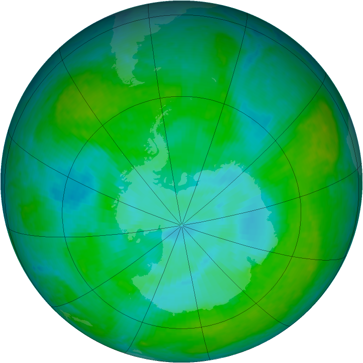 Antarctic ozone map for 24 December 2003