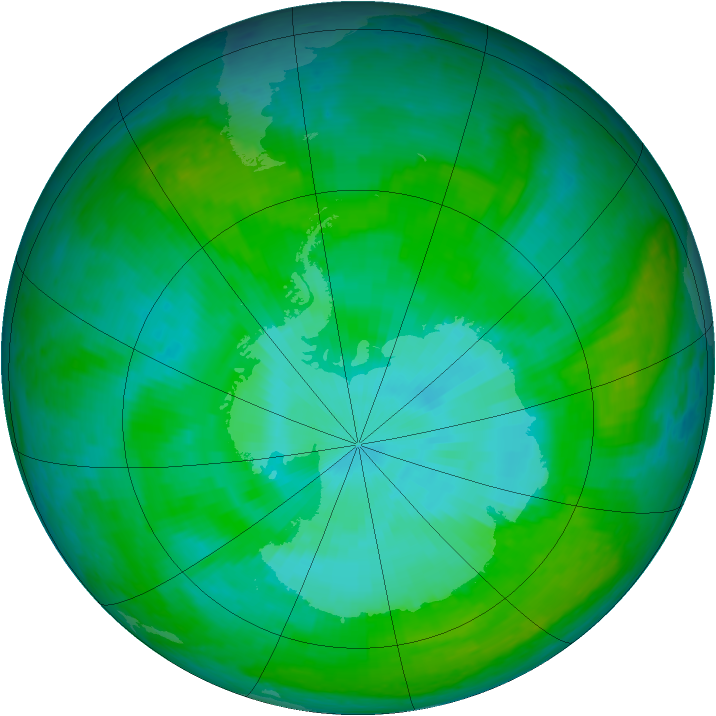 Antarctic ozone map for 25 December 2003