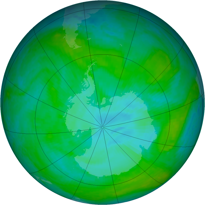Antarctic ozone map for 26 December 2003