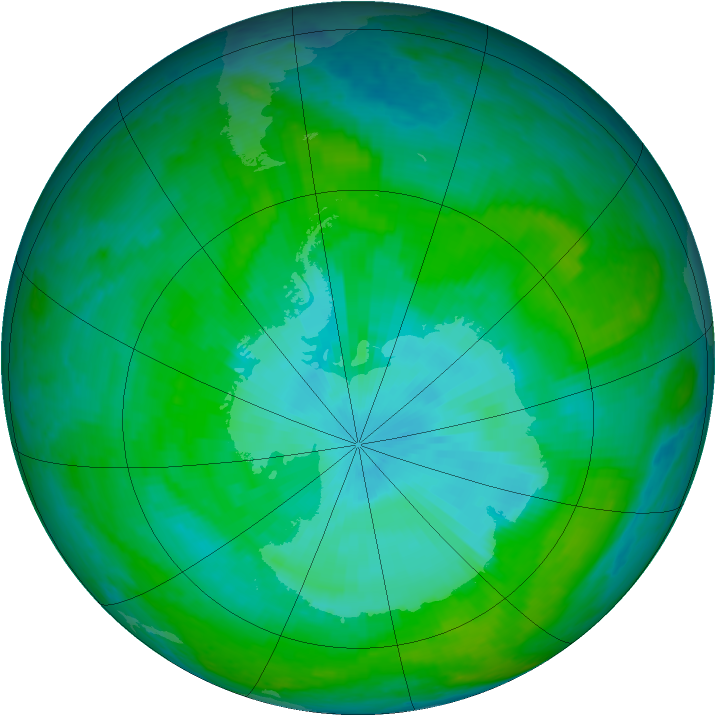 Antarctic ozone map for 27 December 2003