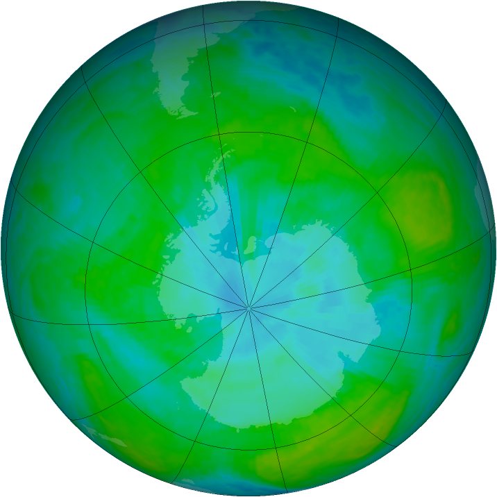 Antarctic ozone map for 28 December 2003