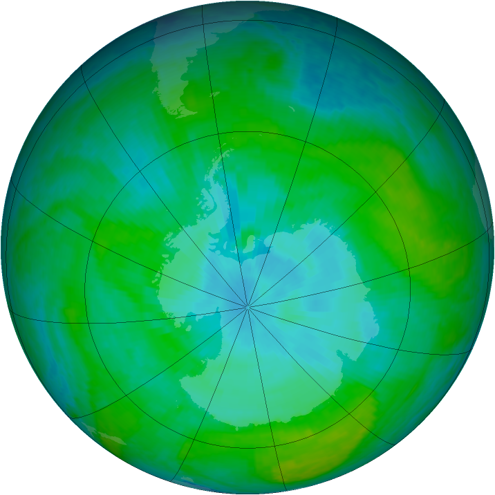 Antarctic ozone map for 29 December 2003