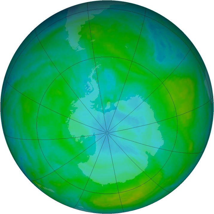 Antarctic ozone map for 30 December 2003