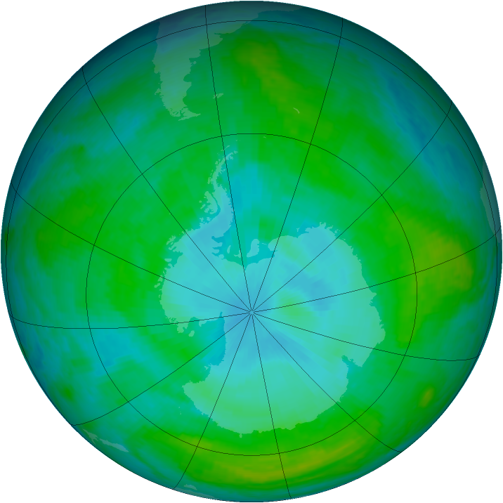 Antarctic ozone map for 31 December 2003