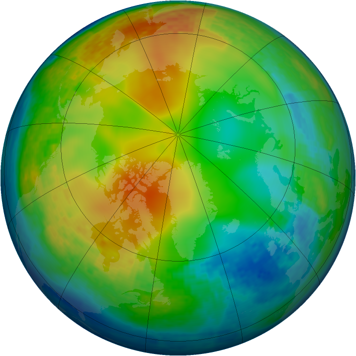 Arctic ozone map for 01 January 2004