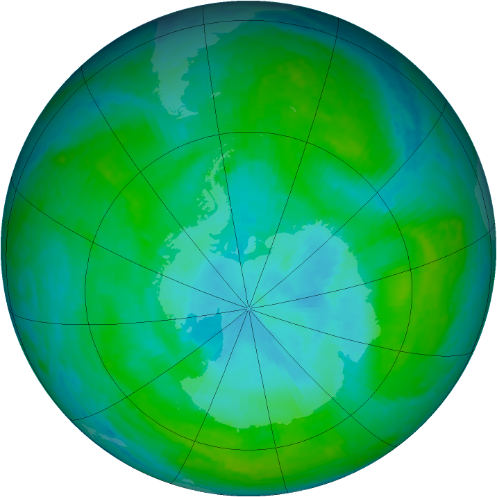Antarctic ozone map for 02 January 2004