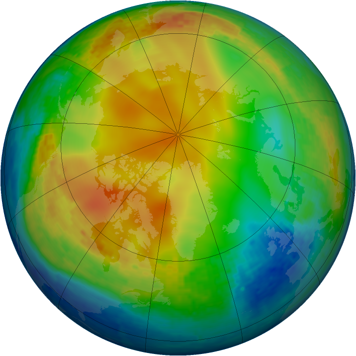 Arctic ozone map for 04 January 2004