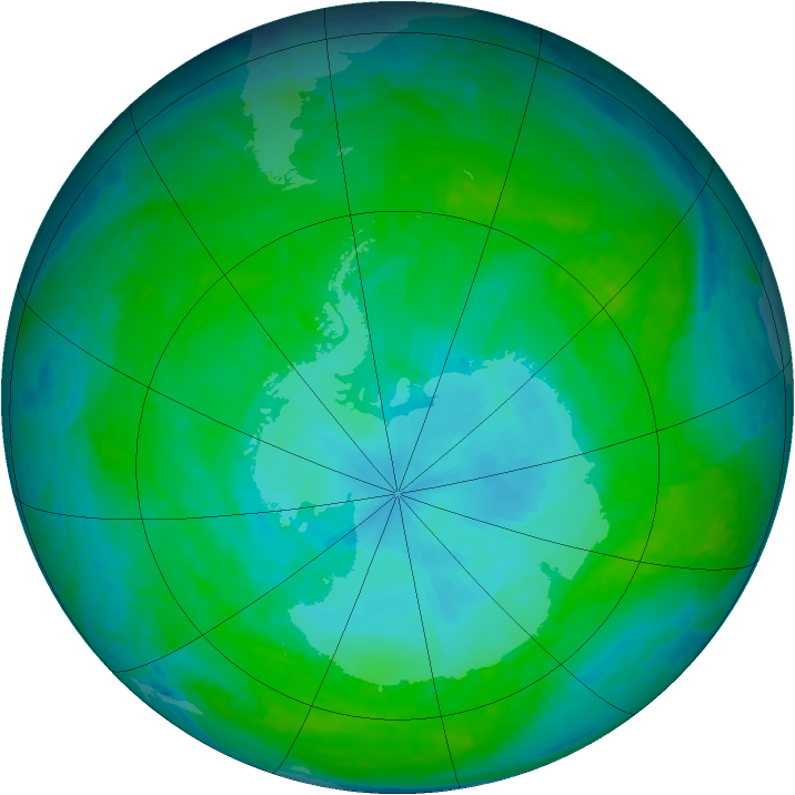 Antarctic ozone map for 05 January 2004