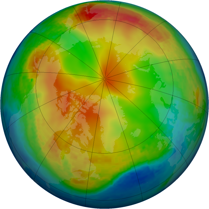 Arctic ozone map for 08 January 2004