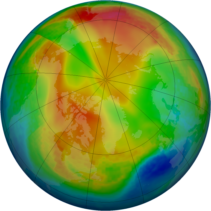 Arctic ozone map for 09 January 2004