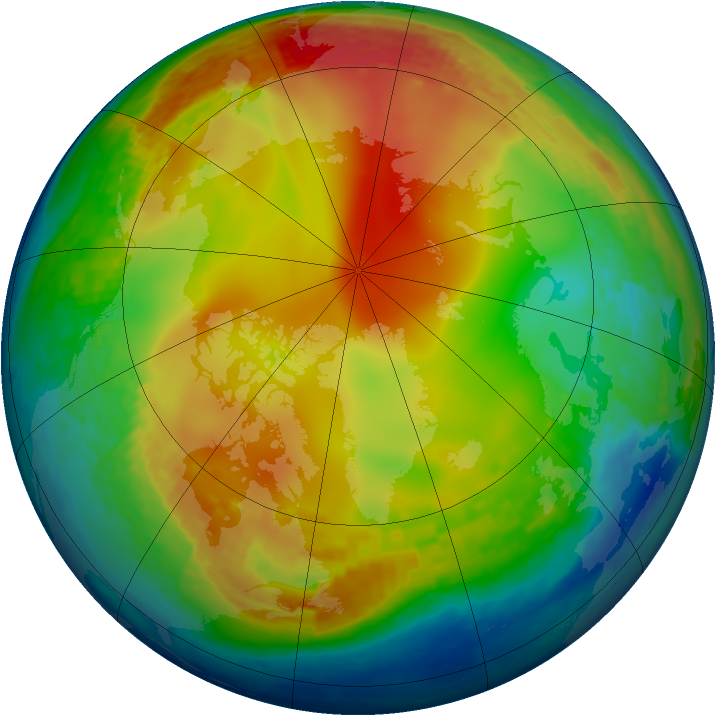 Arctic ozone map for 11 January 2004