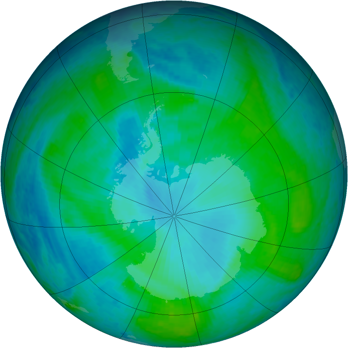 Antarctic ozone map for 20 January 2004