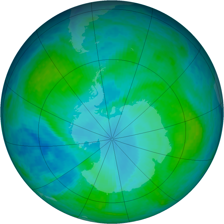Antarctic ozone map for 23 January 2004