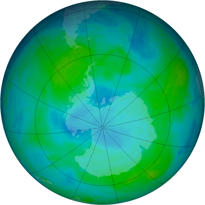 Antarctic ozone map for 27 January 2004