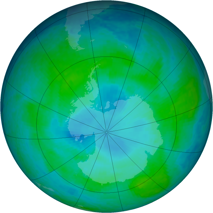 Antarctic ozone map for 28 January 2004