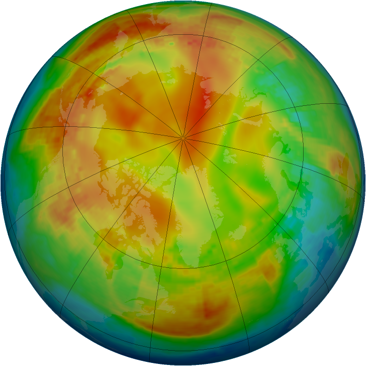 Arctic ozone map for 01 February 2004