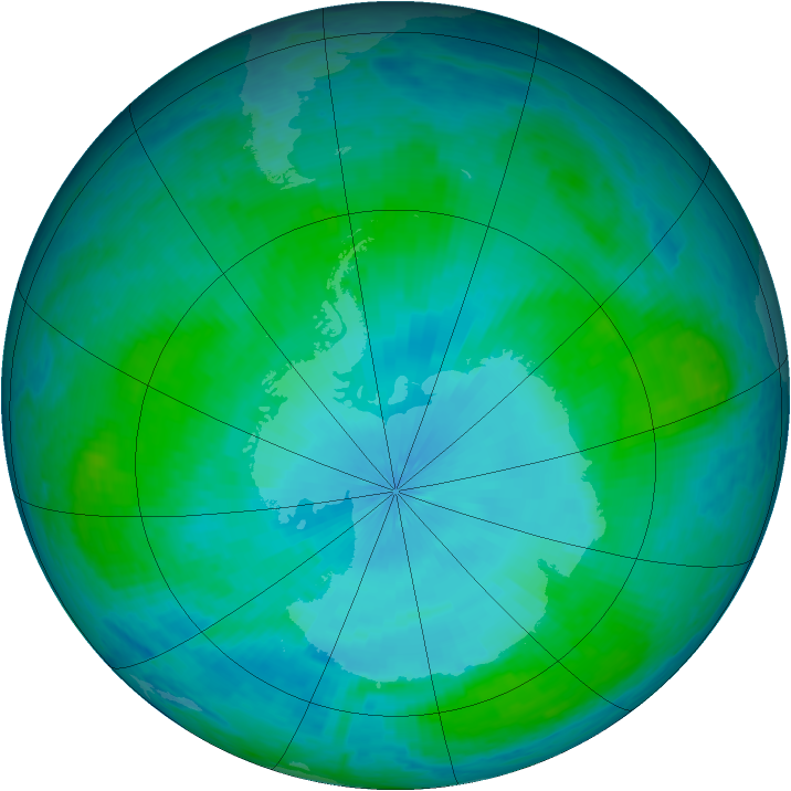 Antarctic ozone map for 01 February 2004