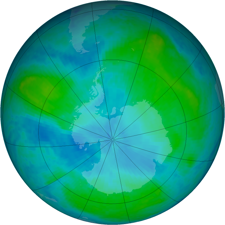 Antarctic ozone map for 06 February 2004