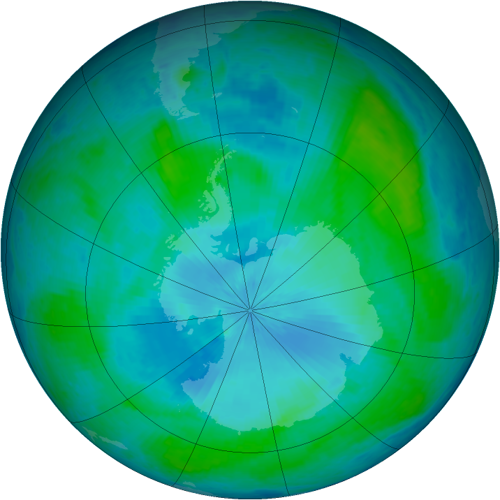 Antarctic ozone map for 09 February 2004