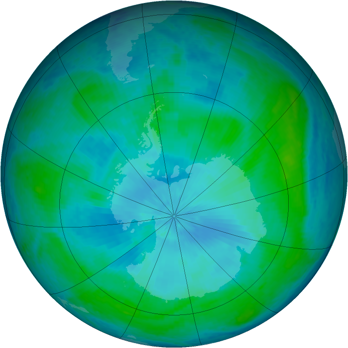 Antarctic ozone map for 10 February 2004