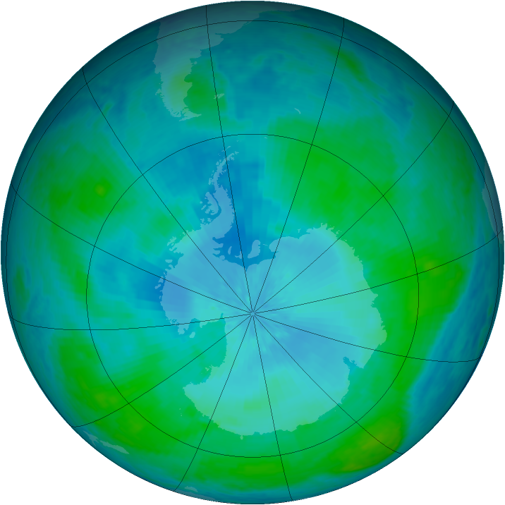 Antarctic ozone map for 12 February 2004