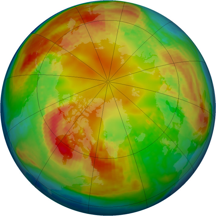 Arctic ozone map for 13 February 2004