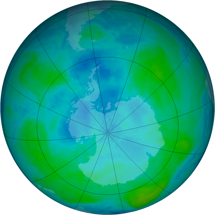 Antarctic ozone map for 13 February 2004
