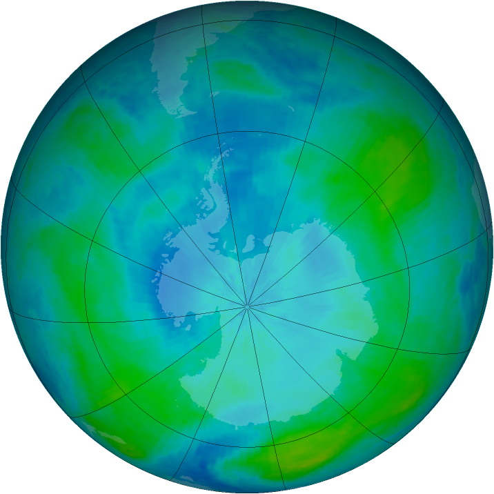 Antarctic ozone map for 14 February 2004