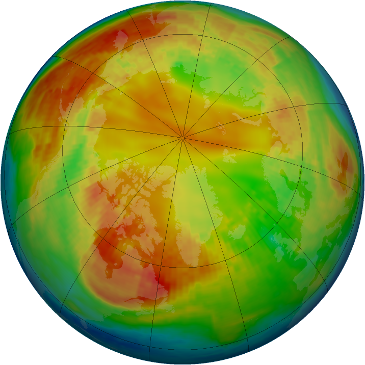 Arctic ozone map for 15 February 2004