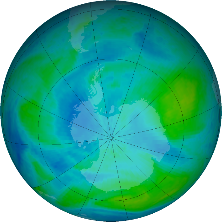 Antarctic ozone map for 16 February 2004