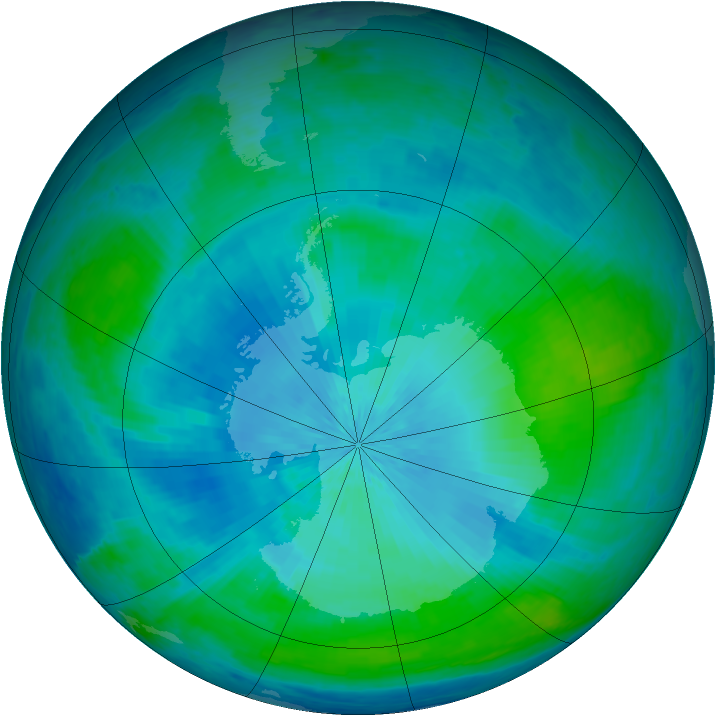 Antarctic ozone map for 17 February 2004