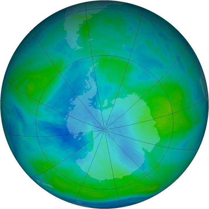 Antarctic ozone map for 18 February 2004